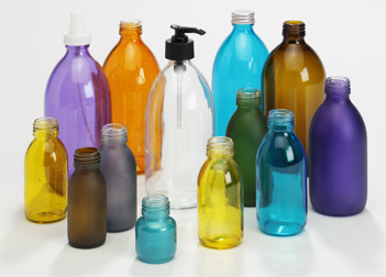 clear glass toiletry bottles