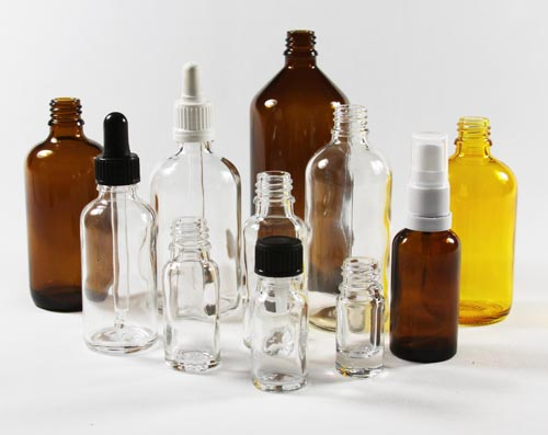 clear glass aromatherphy bottles